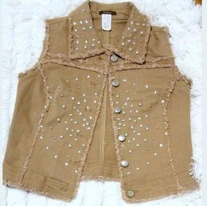 Feline studded raw-edge denim Women's vest size S
